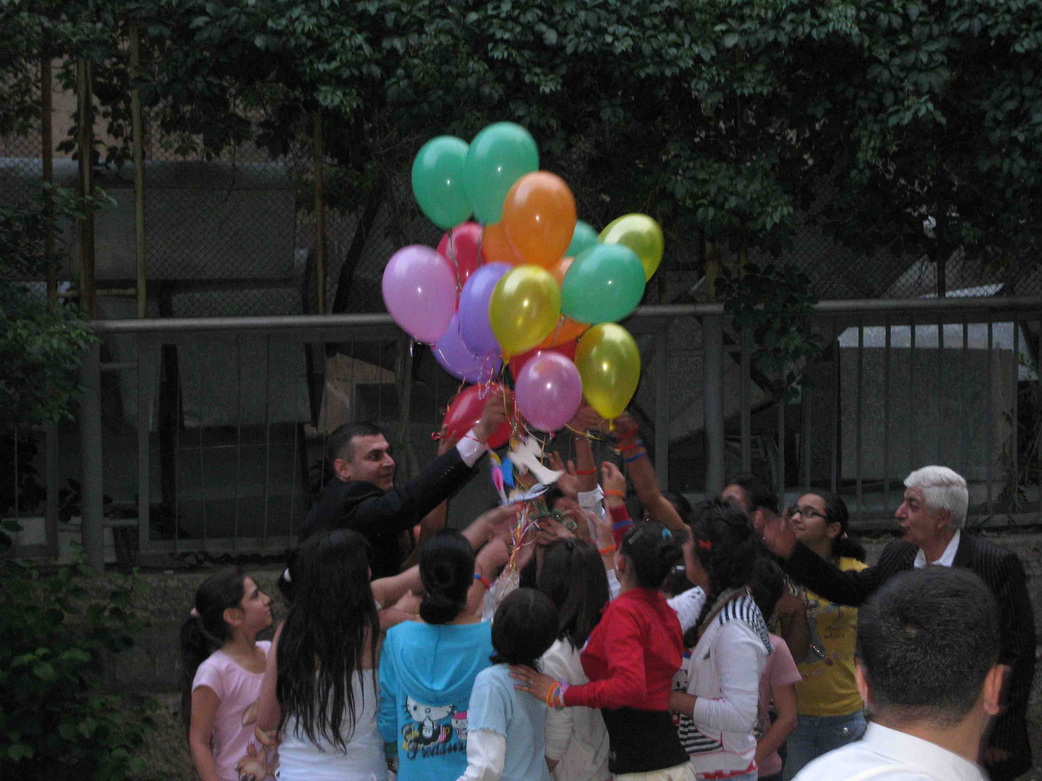 Residents letting loose their 'notes of hope' in balloons